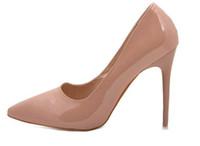 al por mayor tacones muy altos-Europen de calidad superior muy delgada de los altos talones 2016 bombas de las mujeres 11CM los altos talones del dedo del pie en punta de charol las mujeres atractivas zapatos de las señoras