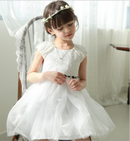childrens wear - Lace Summer Princess Dress Childrens Girls Tulle Sash Dresses Solid Cotton Wear Kids Clothes Gauze Dressy Party Dress Red White N0020