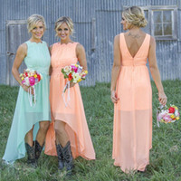 Wholesale 2016 Mint Orange High low Bridesmaid Dresses under Chiffon Maid of Honor Dresses A Line Crew Appliques Pleated Short Party Dresses