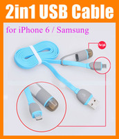 Cheap 1M 2in1 USB data cable for Samsung s4 Flat Noodle Micro usb cable Data Sync Charger Charging USB Cable CAB044