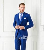 wholesale suits - Custom Made Two Buttons Royal Blue Groom Tuxedos Peak Lapel Groomsmen Best Man Wedding Prom Dinner Suits Jacket Pants Vest Tie G3972