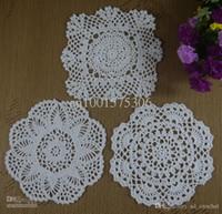lace doilies - cotton lace hand made Crochet Doilies cup mat Natural color Round Square Doily cm