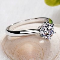 14k gemstone ring - Romantic gemstone jewelry Moissanite Charms Engagement Ring CT Round Brilliant K Solid White Gold Certified VVS H Factory Direct