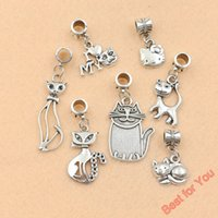 cat charms - 140pcs Mixed Tibetan Silver Cat Beads Fit For European Charms Bracelet Jewelry Making DIY Handmade