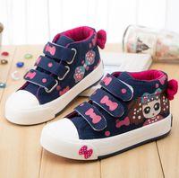 antiskid tape - 2016 Spring Baby Girls Cartoon Canvas Shoes Magic Tape Bowknot Sneakers Antiskid Children Kids Shoe Footwear pairs K6151