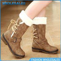 Wholesale 2014 Hot Selling Winter Women s Flats Shoes Short Fut High Quality PU Flats Shoes Warm Snow boots Warm Hot sale EURO Size34