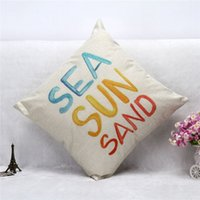 Wholesale Cushion Retro Hope Happy Cover Letters Couch Home Seat Hotel Pillow Case Square Cotton Linen