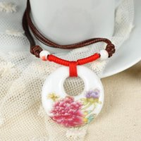 ancient ceramic art - Weave Band Pendants Necklaces Chinese Ancient Art Paintings Blue Flower Ceramic Statement Necklace PSS0051