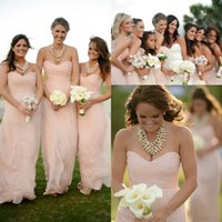 Discount junior plus pink bridesmaid dresses - 2016 Spring Summer Chiffon A Line Bridesmaids Dresses Plus Size Sexy Sweetheart Floor Length Bohemian Junior Bridesmaid Gowns Maid of Honor