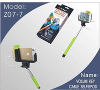 Wholesale Chistmas Gift Original KJstar Z07 Wired Selfie Stick Handheld Extendable Monopod Universal mm Audio Cable pole For iPhone Ios Android