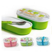 bento box cooking - Microwave food thermos Bento Food Container tableware Children bunk bento box with spoon PP Insulation Lunch box cooking tool