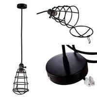Wholesale Vintage Edison Antique Practical Home Pendant Light Lamp Chandelier Cage Lampshade Black Decoration