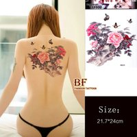 Wholesale large color Peony flower butterfly designs Temporary tattoo stickers body back painting MQA26 drawings Waterproof sex women