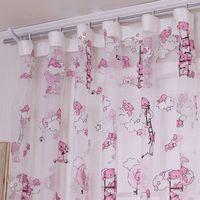 Wholesale Children Cartoon Bear Pattern Curtain For Living Room Yarn Printed Organdy Net Curtain Modern Window Curtain