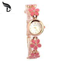 bangel watch - Luxury Brand Daisies Flower Rose Gold Bracelet Women Girl Wrist bangel Watch relogio feminino Clock hours cheap Dress Watches