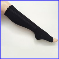 Wholesale 100pairs Zipper Compression Leg Socks Women Zip Up Sock Ultrathin Breathable Black Beige Zip Sox Via DHL