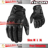 Acheter Gants dirt bike-Gros-Livraison gratuite 2014 I-con PDX des gants imperméables pour la moto motocross dirt bike pit bike complet doigt