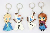 Wholesale 3D Cartoon Frozen keychains toy Elsa Anna Olaf keychain dolls Styles to Choose