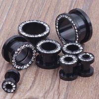 Wholesale mix mm stainless steel black crystal ear plugs body piercing jewelry ear flesh tunnel