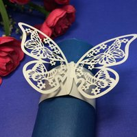 Wholesale 12Pcs Elegant White Butterfly Paper Napkin Ring Holder Wedding Christmas Party Banquet Decoration H15160