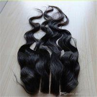 Wholesale 7A Brazilian Malaysian Peruvian Human Hair Natural Wave inch Lace Top Closure Part Lace Closure Bleached Knots