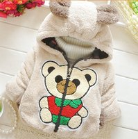Cheap Wholesale-2015 new winter coat zipper cardigan chest red cotton jacket Bear baby clothing wholesale GW259