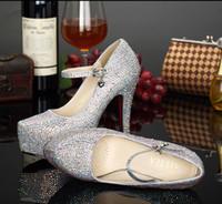 Wholesale Shining Diamond Shoes - Shining Rhinestone Wedding Shoes Silver Waterproof Luxury Diamond Bridal Shoe Walking Comfortable High Heel Bridal Accessories