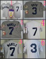 pinstripe baseball jerseys - Babe Ruth Jersey Throwback Mickey Mantle Jerseys Grey th Patch White Pinstripe