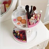 Wholesale 1000pcs CCA3578 High Quality New Korean Degree Round Rotatable Cosmetic Plastic Makeup Storage Layer Multifunctional Makeup Organizer