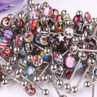 Wholesale Fashion Jewelry Body Jewelry L stainless Steel tongue ring mix different logo Nipple Bar body jewelry Piercing Tongue