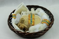 willow basket - Gift bath set willow made handle basket bath set Eco Friendly ths basket can use to place clothes