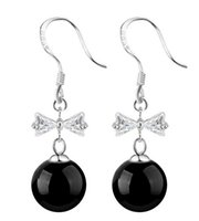 agate dangles - New Ms Jewelry Sterling Silver Plated Earring Bowknot Natural Agate Stones Round Bead Exaggerated Tassel Dangle Earrings