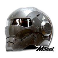 face shield - 2015 Mens Womens MASEI IronMan Motorcycle Helmet Full Face Flip up with Sun Shield Half Open Face Casque Motocross