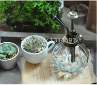 Wholesale New Zakka Vintage antique copper colored glass watering cans Gardening Water can Plant Waterer Glass Shower Tool