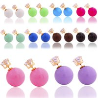 big crystal store - 2016 Hot Sale Jewelry Stores Fashion Mix Colors Big Simulated Pearl Earrings With Crystal Stud Earrings With Pair
