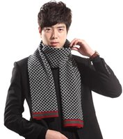 Wholesale 2014 New Man Fashion Cashmere Scarves Knitting Warm Thickening Casual Plaid Shawl Korea Stylish Grid Long Scarf cm