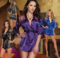 Wholesale S XL Sexy Satin Lace Lingerie Sleepwear Robes Women temptation Exotic Apparel Exotic Dress Bathrobes Sauna clothing plus size