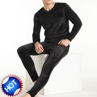 Wholesale Men s Thickening and wool warm suit underwear double side velvet underpants long Johns Men trousers of winter legging tight