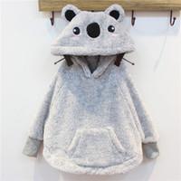 bear hoodie with ears - Cute Girls Winter Coat Bear Ear Cap Kids Warm Cloak Hoodies Pullovers Outerwear Poncho Short Coats Gray Children Clothes