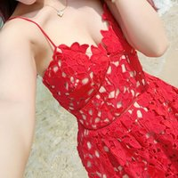 banks beach - Sign singer Huang Liling Left Bank Xiao same paragraph dress dress straps lace dress beach dress