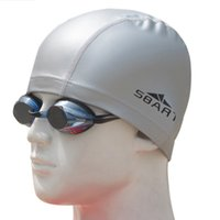 bathing caps for long hair - SBART PU Fabric Protection Ears Long Hair Waterproof Water Sports Swimming Cap Bathing Hat Coating Cover for Men Women Adults