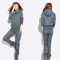 womens velour tracksuits - HOT sale brand new Warm Womens Casual Sports Hoodies Suit Tracksuit Coat Pants Sweat shirts