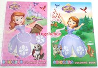 Wholesale 2016 New Coloring Book For Kids Sofia the First Princess Student Prize Birthday Gift Creative Notebook Sticker Girl Boy