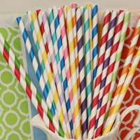 Wholesale 1000pcs Pick Your Colors Black Aqua Blue Green Pink Yellow Grey Orange Purple Brown Gold Silver Red Party Paper Drinking Straws
