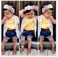 baby girl costumes boutique - European girls suit girls clothing sets vest suspenders tops denim shorts kids boutique clothing baby costume HX