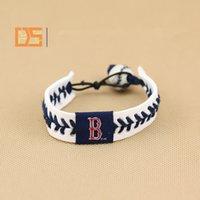 baseball cuff bracelets - Baseball league woven bracelets leather porcelain rope braid wristbands baseball game funs titanium bracelet OEM sports charm bangle cuff