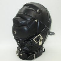 adult mask - Black Soft Leather Bondage Mask SM totally enclosed hood choking sex slave Head Hood Adult Sex Game bondage gear