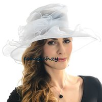 church hats - Women Lady Kentucky Derby Church Bridal Wedding Organza Dress Hat Wide Brim Hat SM Colors