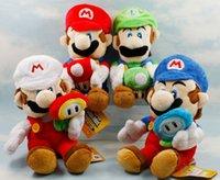 Wholesale Soft Toy Flowers - Super Mario Bros Plush 4 styles Mario and Luigi plush toy dolls with mushroom flowers Soft Toys