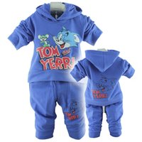 Wholesale Tom and Jerry baby children s clothing boy girls sport suits color blue yellow Baby Clothing Set
